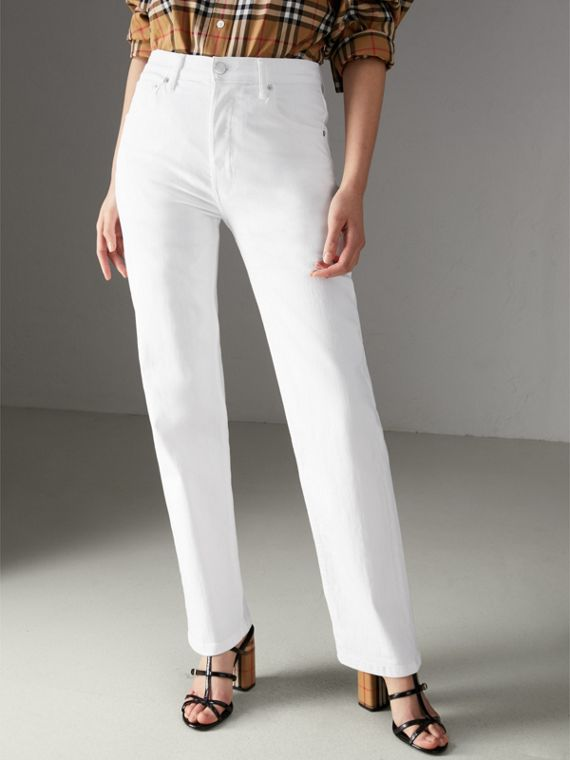 Straight Fit Power-stretch Denim Jeans in White