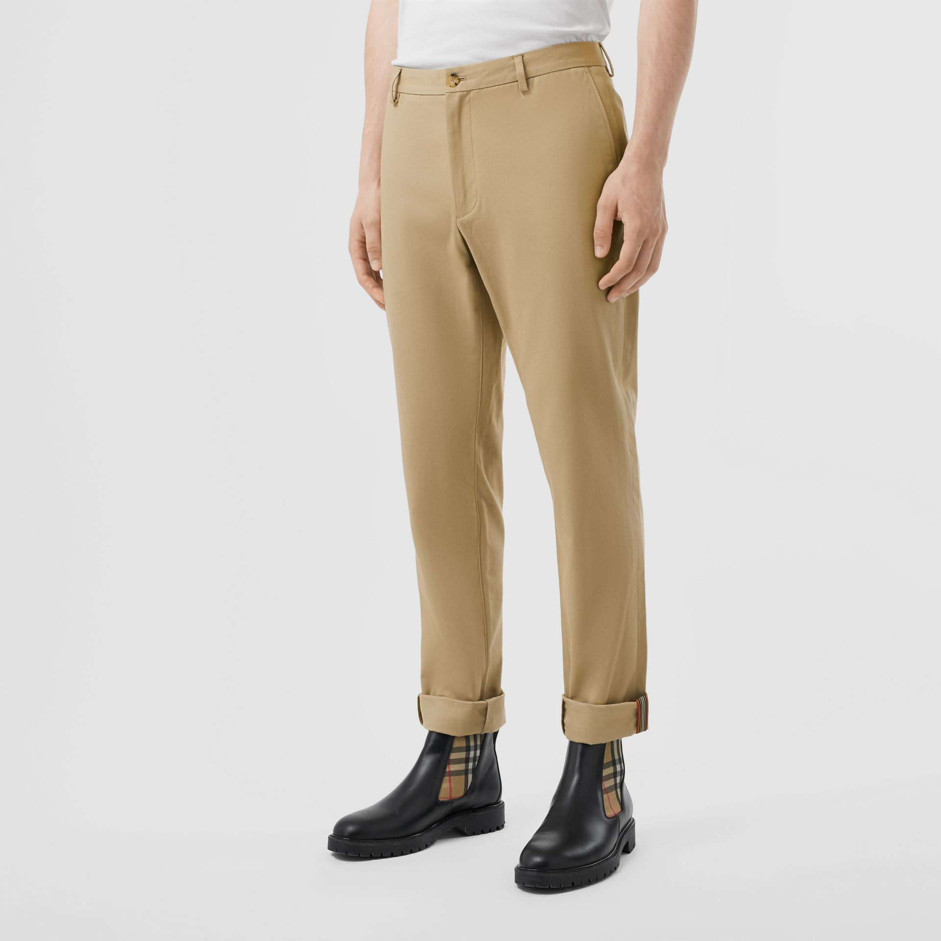 Slim Fit Cotton Chinos in Honey - Men | Burberry United Kingdom - gallery image 5