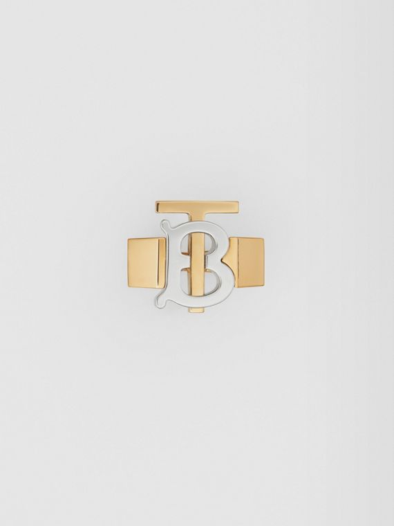 Gold and Palladium-plated Monogram Motif Ring in Light Gold/palladium