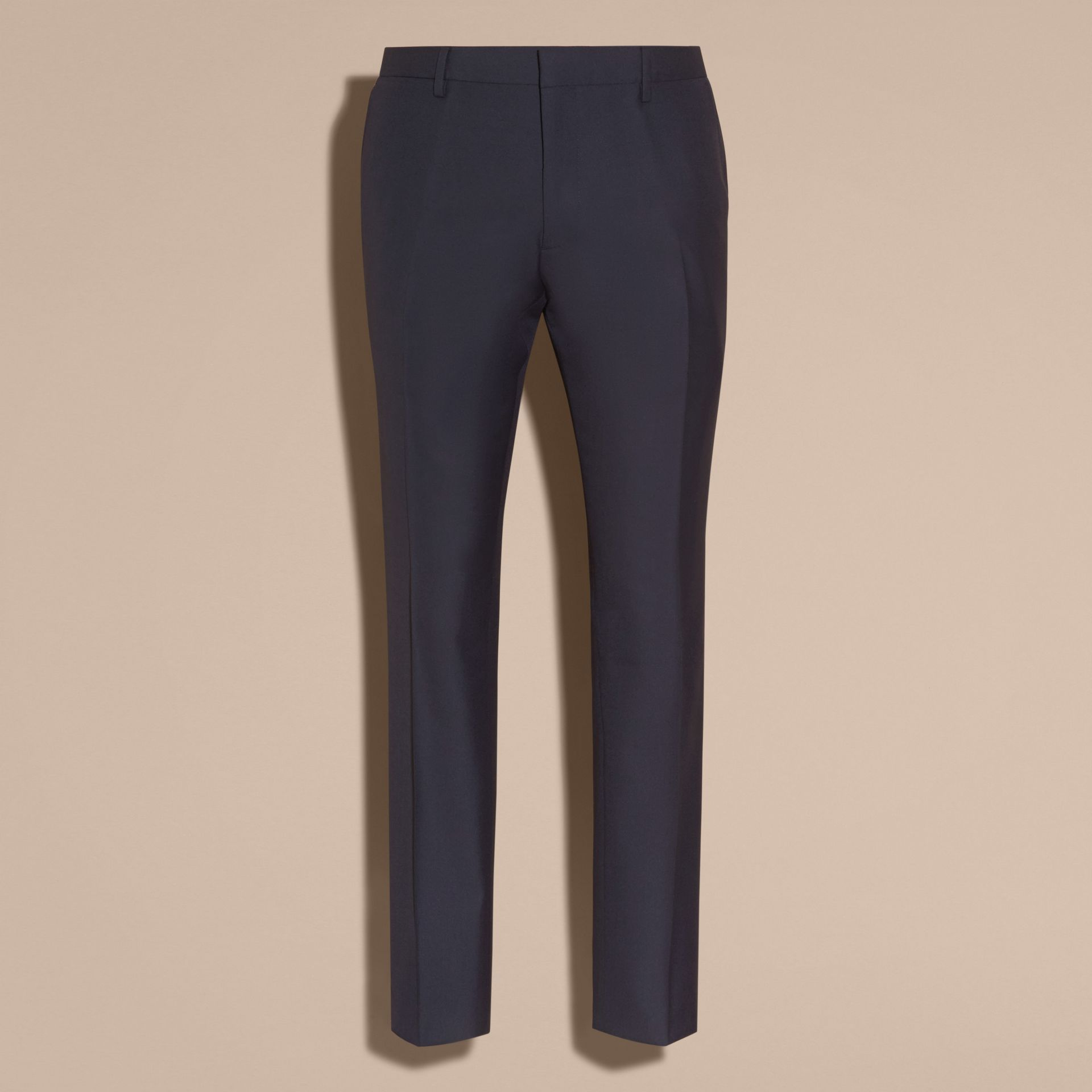 Navy Modern Fit Wool Trousers Navy - gallery image 4