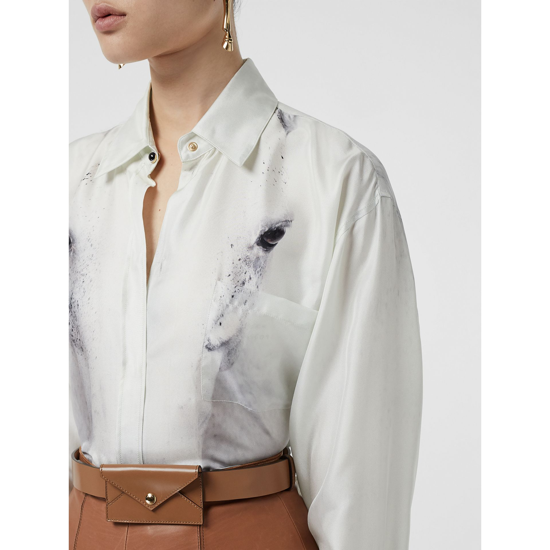 Unicorn Print Silk Oversized Shirt in Light Grey - Women | Burberry - gallery image 1