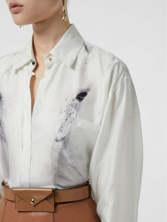 Unicorn Print Silk Shirt in Light Grey - Women | Burberry Australia - cell image 1