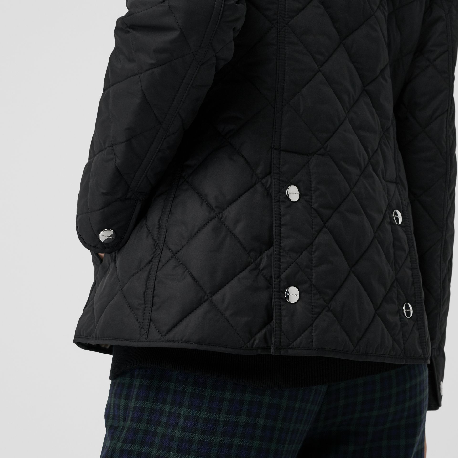 Embroidered Crest Diamond Quilted Jacket in Black - Women | Burberry United States - gallery image 7