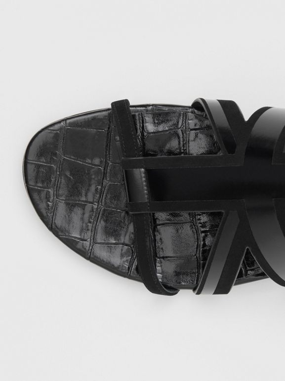 Union Jack Motif Leather and Suede Sandals in Black - Women | Burberry - cell image 1