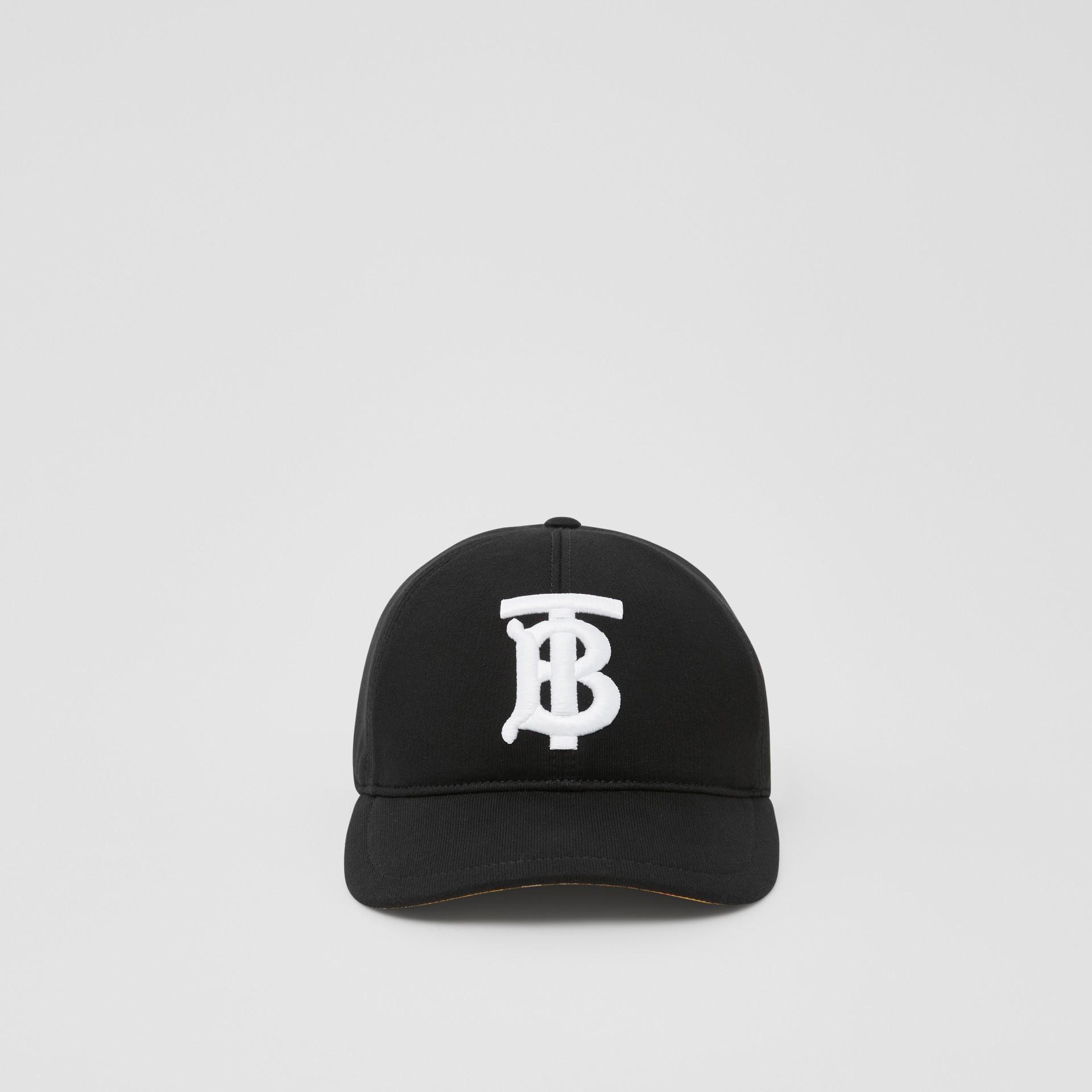 Monogram Motif Baseball Cap in Black | Burberry - gallery image 4