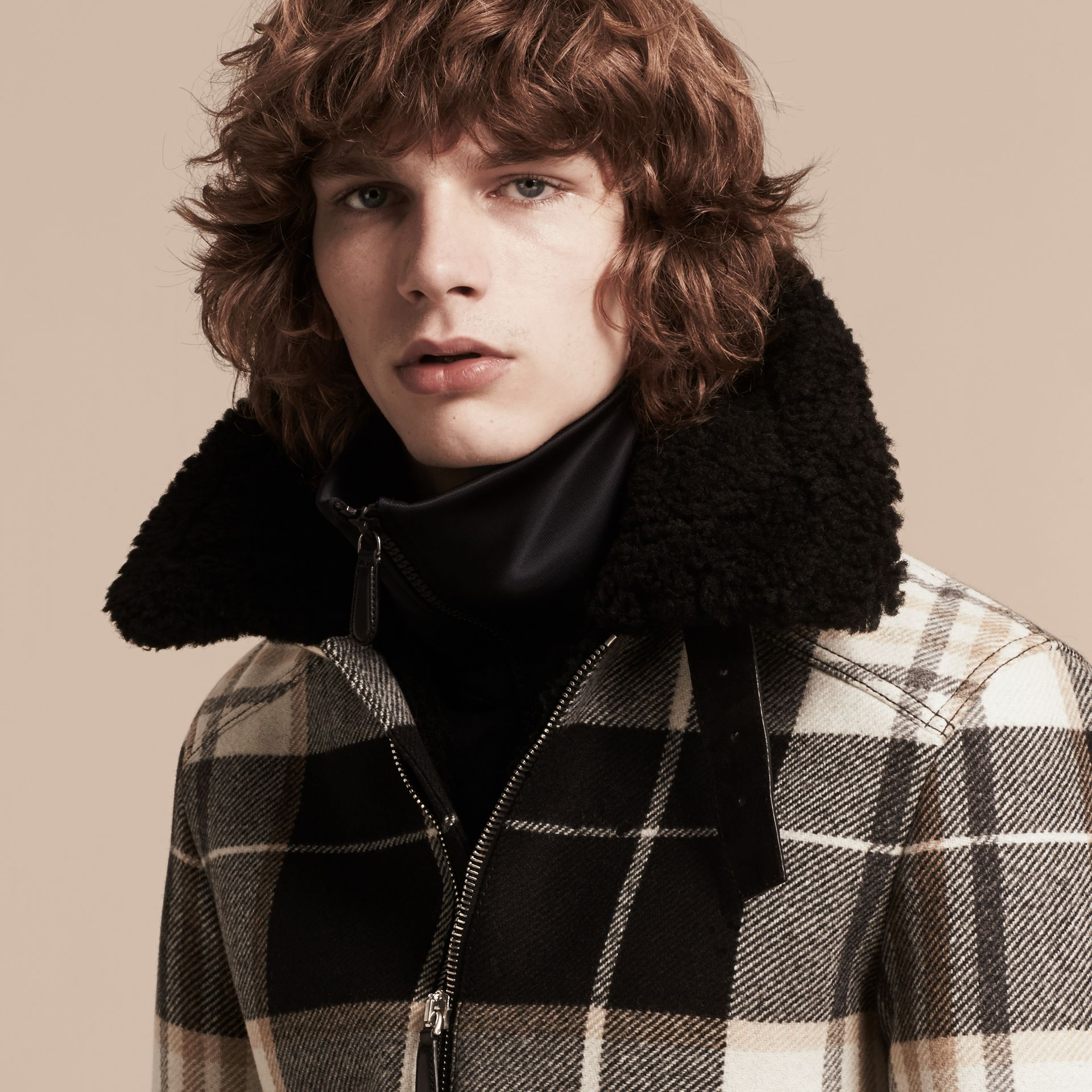 Black Shearling Trim Tartan Wool Flight Jacket - gallery image 5