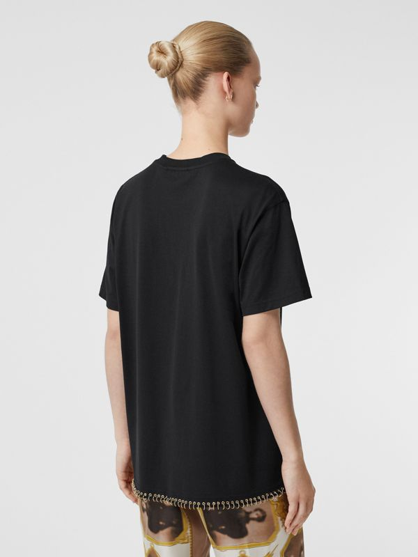 Ring-pierced Cotton Oversized T-shirt in Black - Women | Burberry Singapore - cell image 2