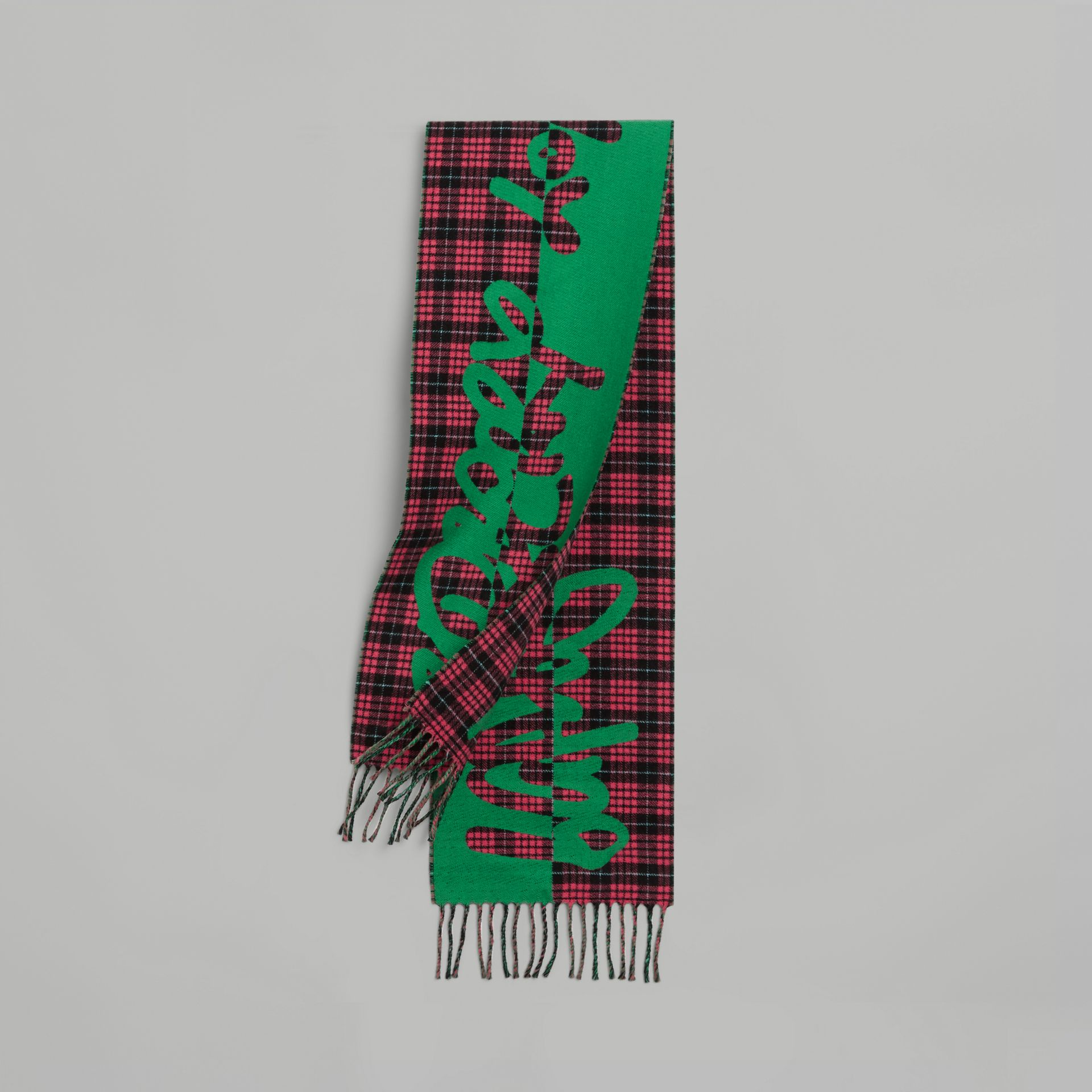 Graffiti and Tartan Wool Jacquard Scarf in Pomegranate | Burberry Australia - gallery image 0