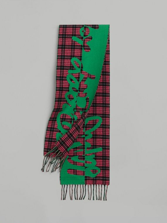 Graffiti and Tartan Wool Jacquard Scarf in Pomegranate