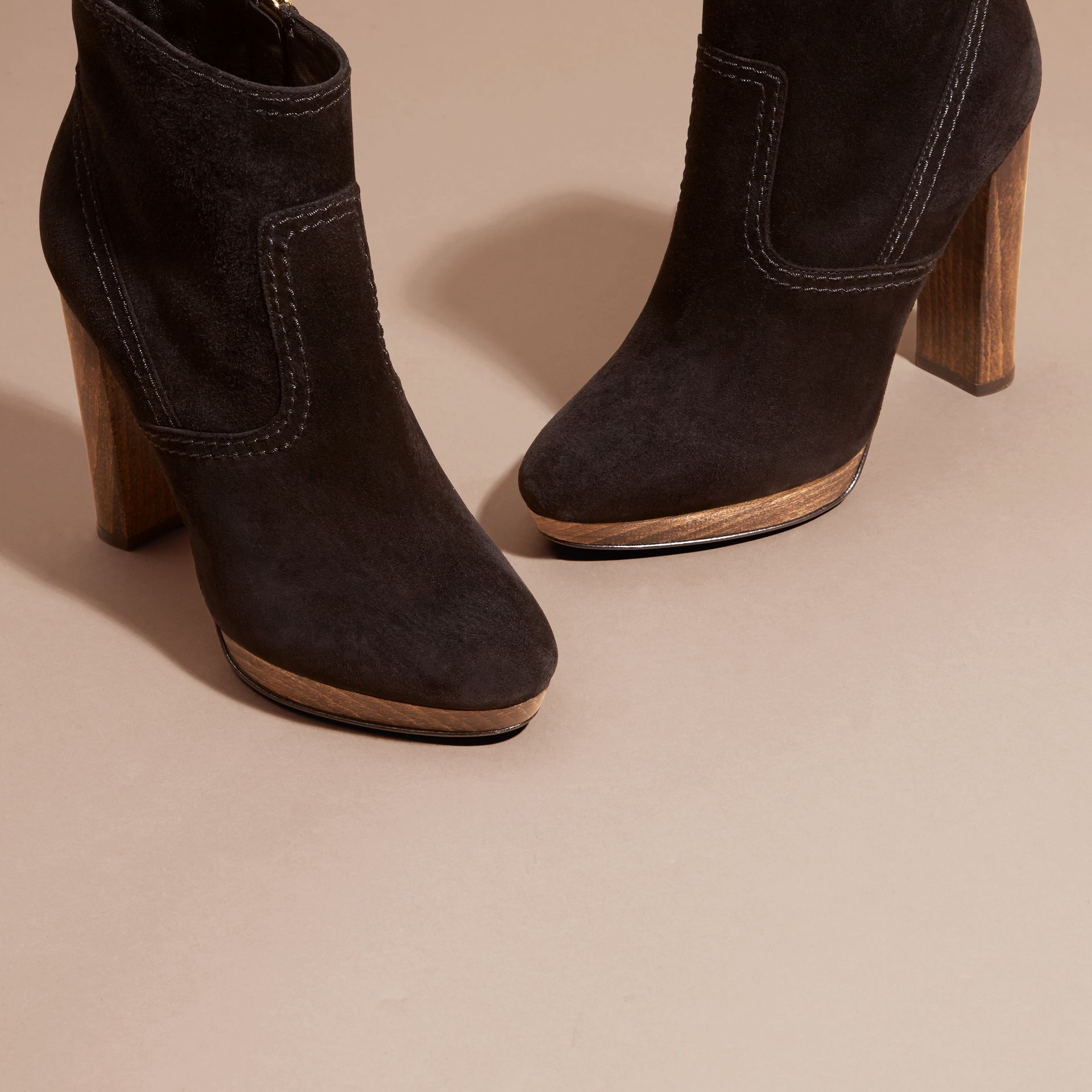 Black Suede Ankle Boots Black - gallery image 3