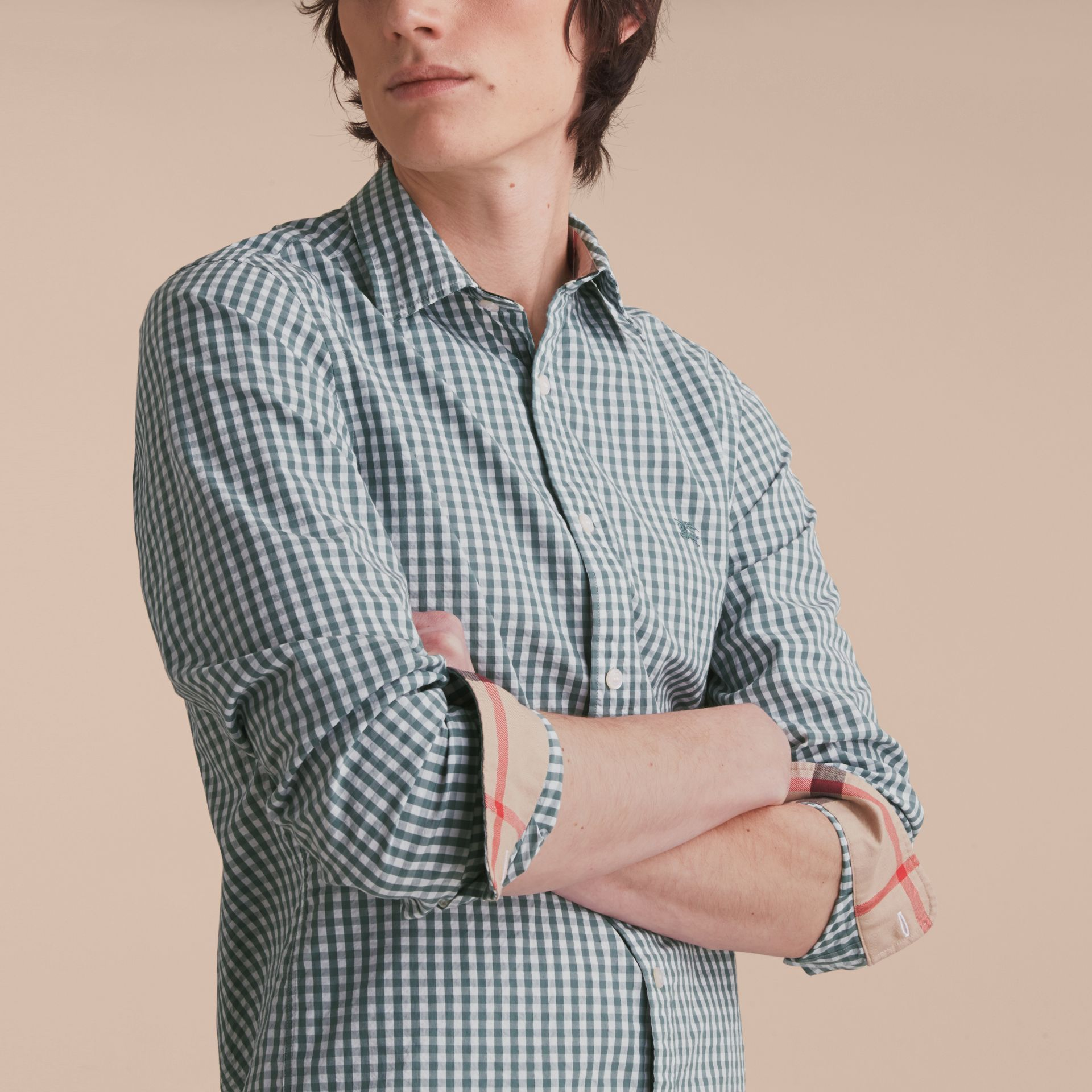 Gingham Cotton Poplin Shirt with Check Detail in Dusty Teal Blue - Men | Burberry - gallery image 5