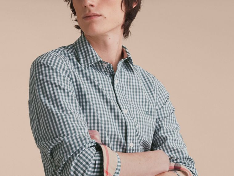 Gingham Cotton Poplin Shirt with Check Detail in Dusty Teal Blue - Men | Burberry - cell image 4