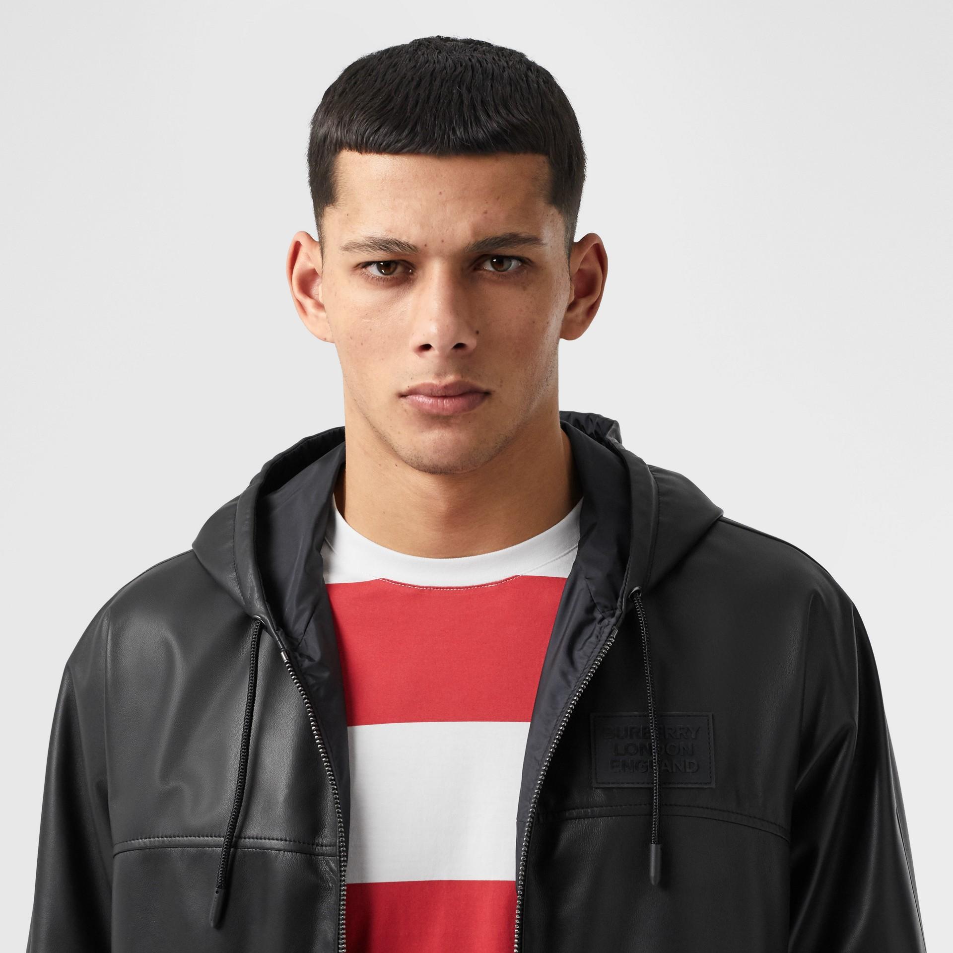 Reversible Lambskin and Nylon Hooded Jacket in Black - Men | Burberry - gallery image 1