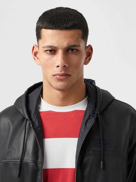 Reversible Lambskin and Nylon Hooded Jacket in Black - Men | Burberry - cell image 1