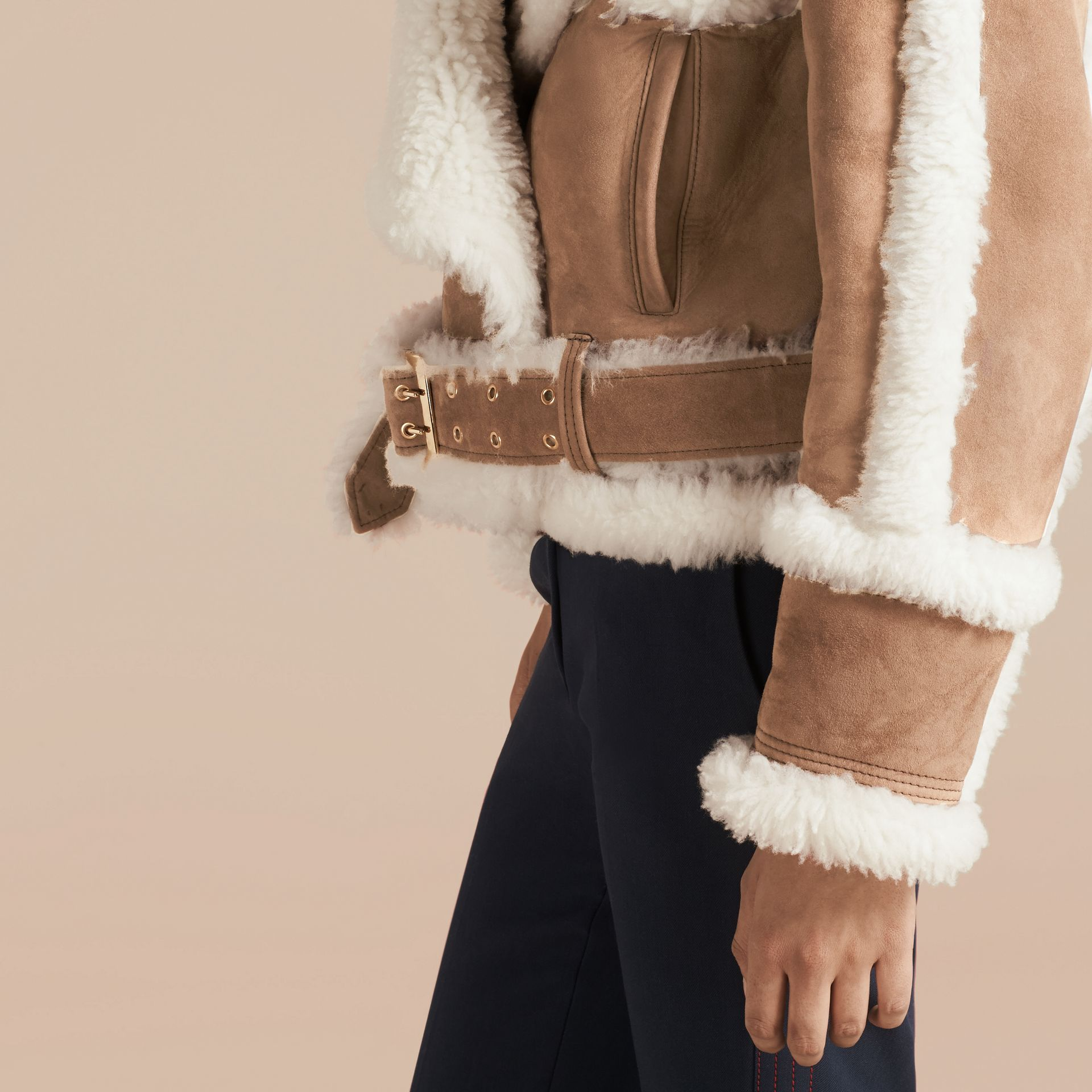 Camel Cropped Suede and Shearling Aviator Jacket - gallery image 6
