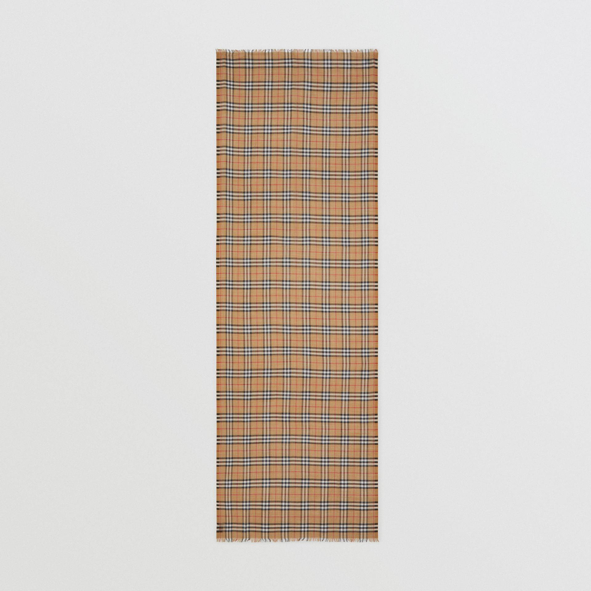 Vintage Check Lightweight Wool Silk Scarf in Antique Yellow | Burberry Hong Kong S.A.R - gallery image 4