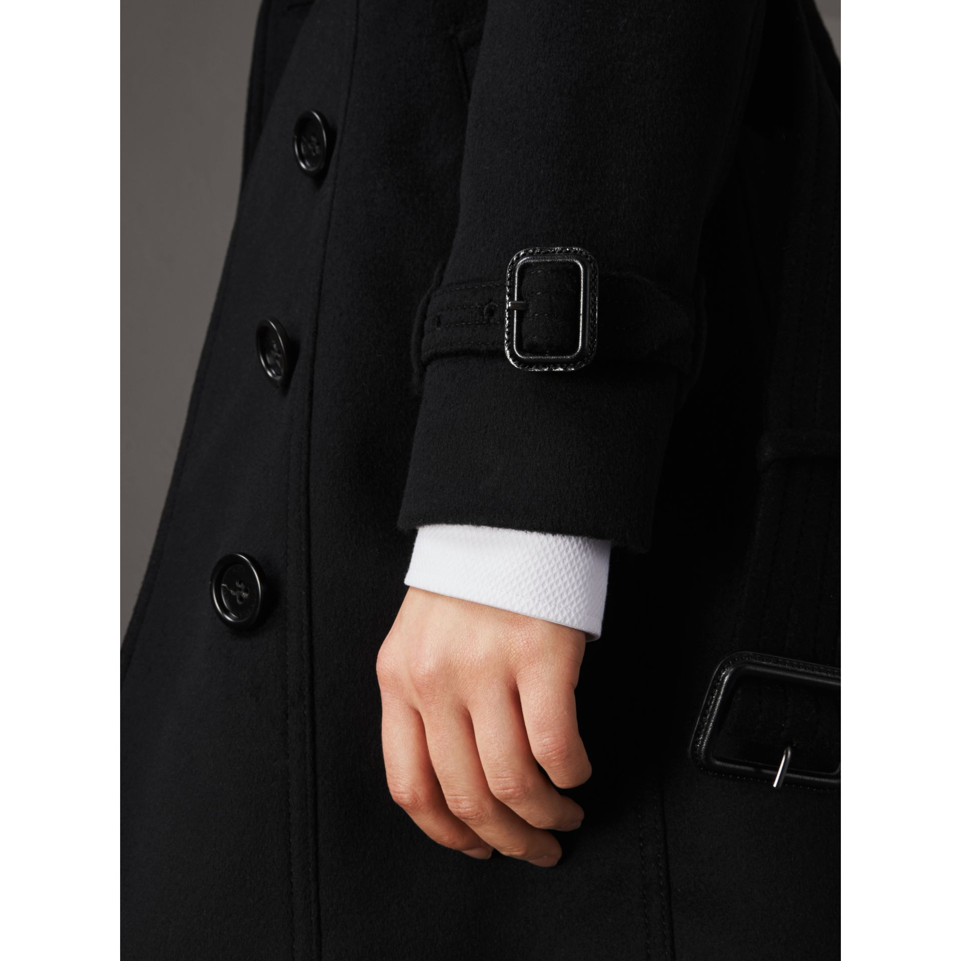 Wool Cashmere Trench Coat with Fur Collar in Black - Women | Burberry Singapore - gallery image 5