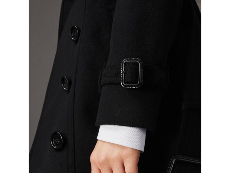 Wool Cashmere Trench Coat with Fur Collar in Black - Women | Burberry Singapore - cell image 4
