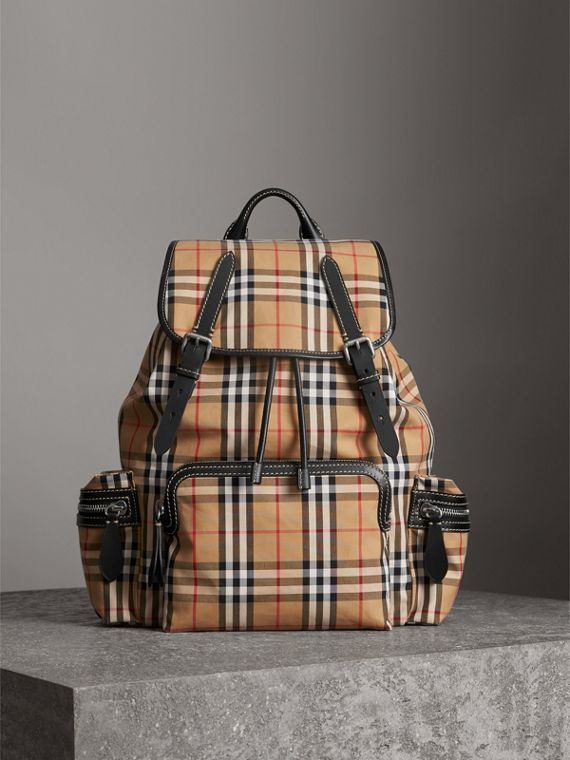 The Large Rucksack in Vintage Check in Antique Yellow