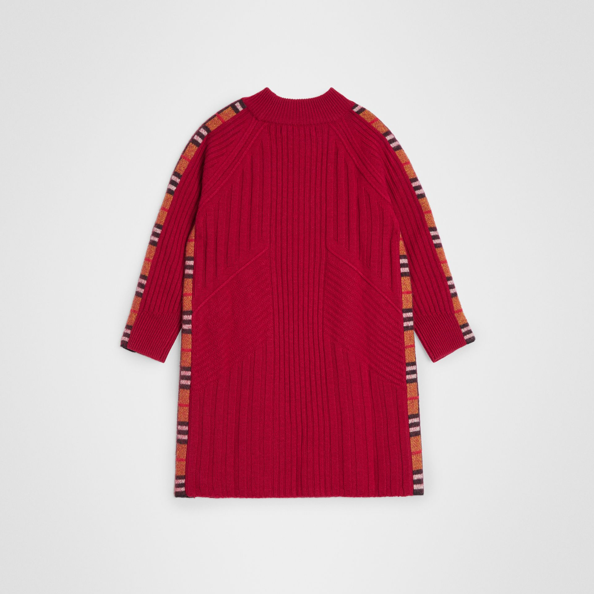 Check Detail Wool Cashmere Dress in Burgundy Red | Burberry United States - gallery image 3