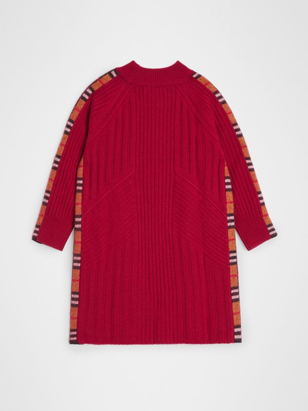 Check Detail Wool Cashmere Dress in Burgundy Red | Burberry United Kingdom - cell image 3