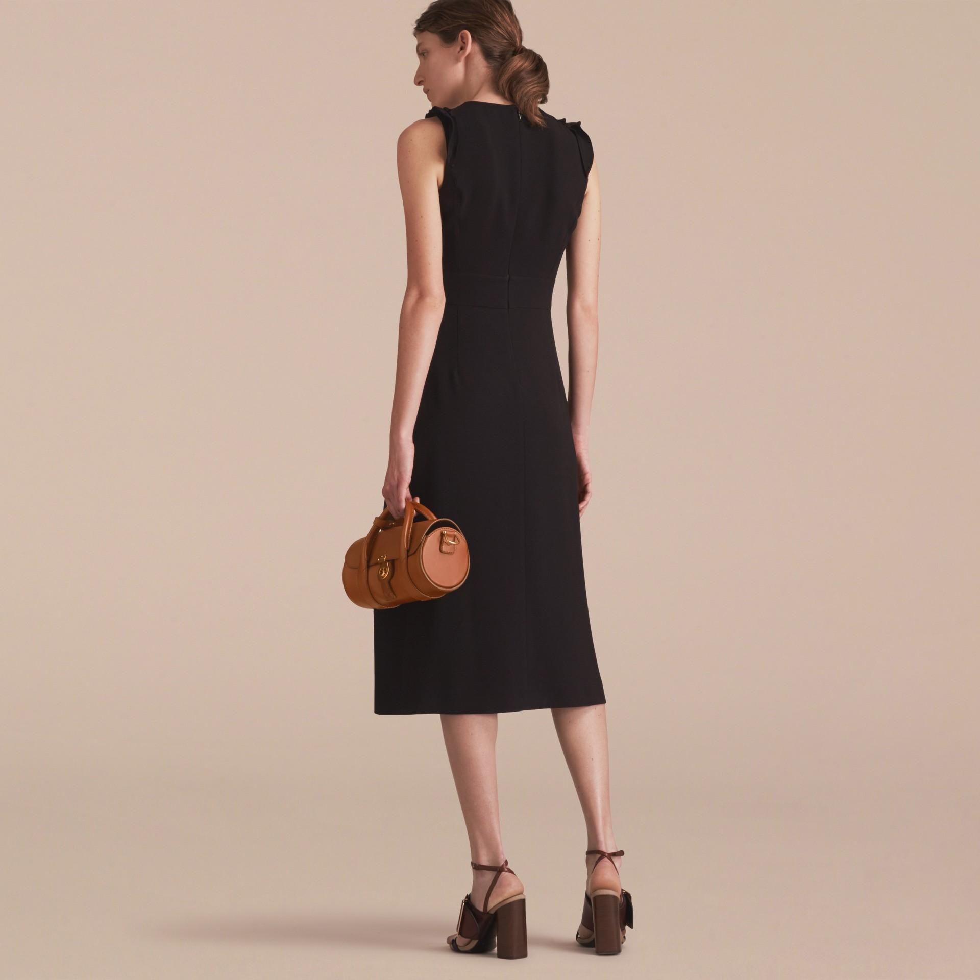 Sleeveless Ruffle Trim Crepe Dress - gallery image 3