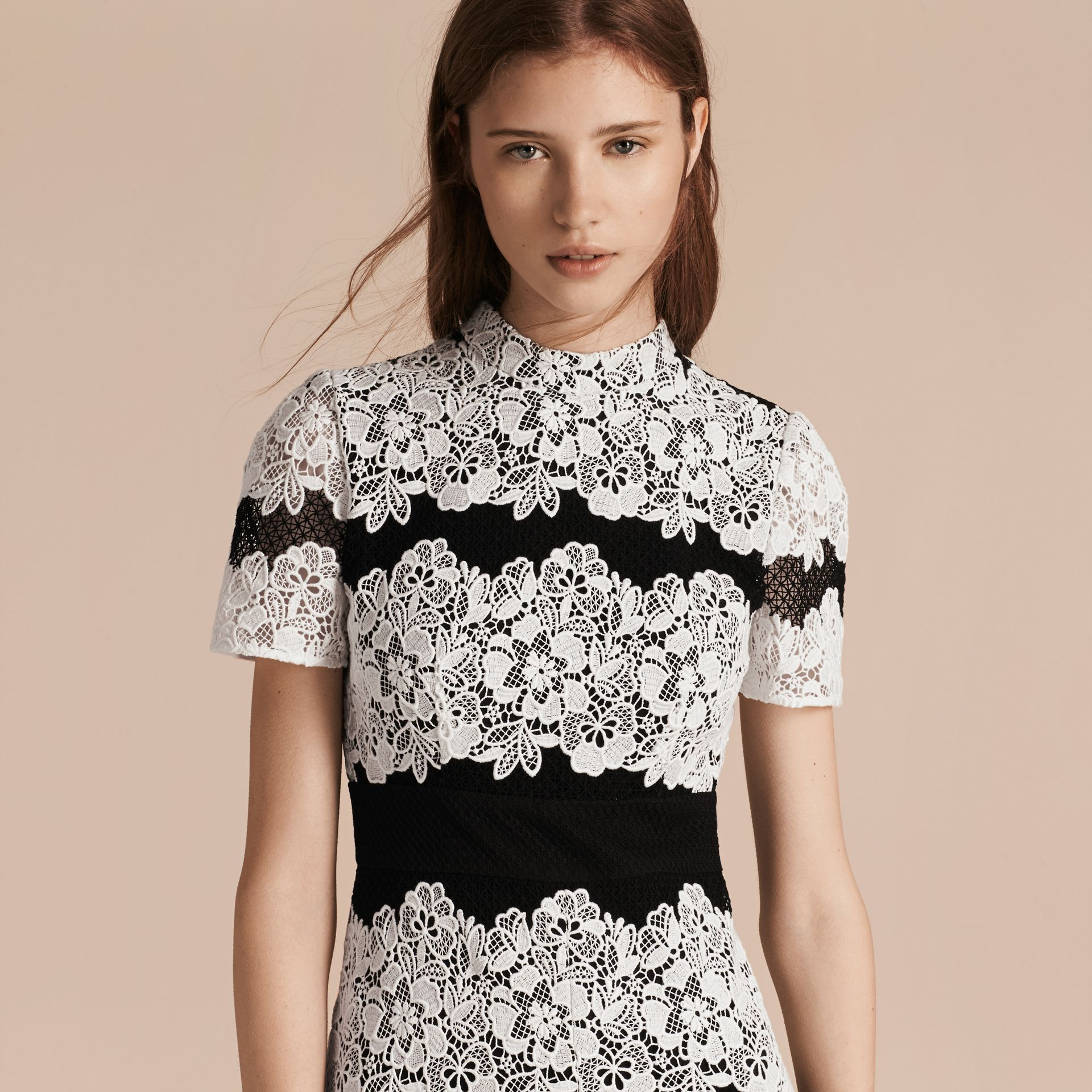 Black/white Mesh and Macramé Lace Shift Dress - gallery image 5
