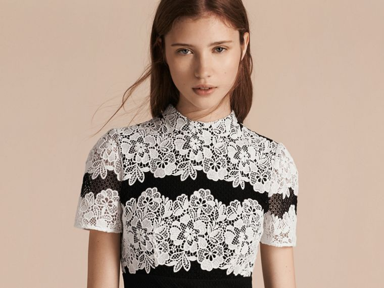Black/white Mesh and Macramé Lace Shift Dress - cell image 4