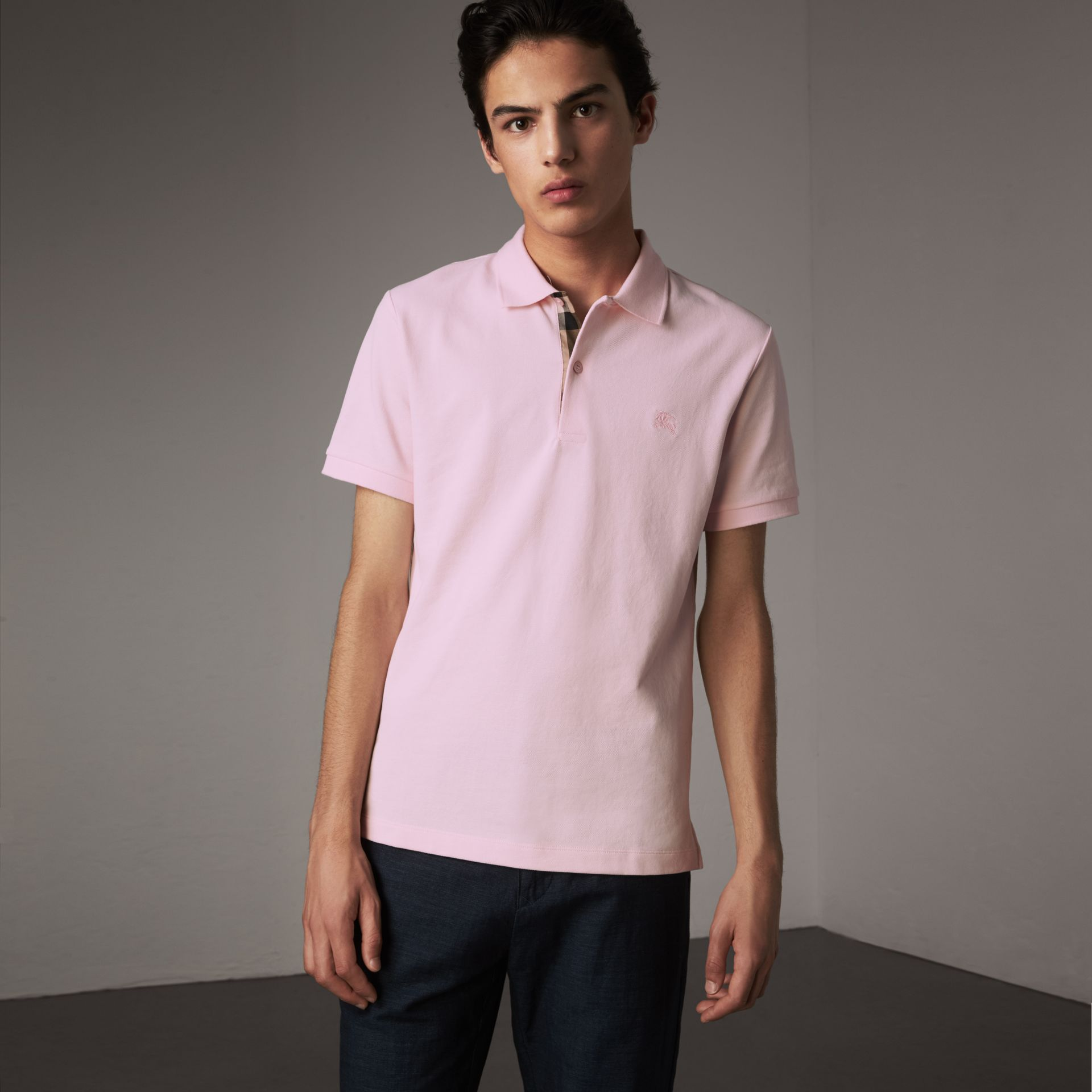 Check Placket Cotton Piqué Polo Shirt in City Pink - Men | Burberry - gallery image 0