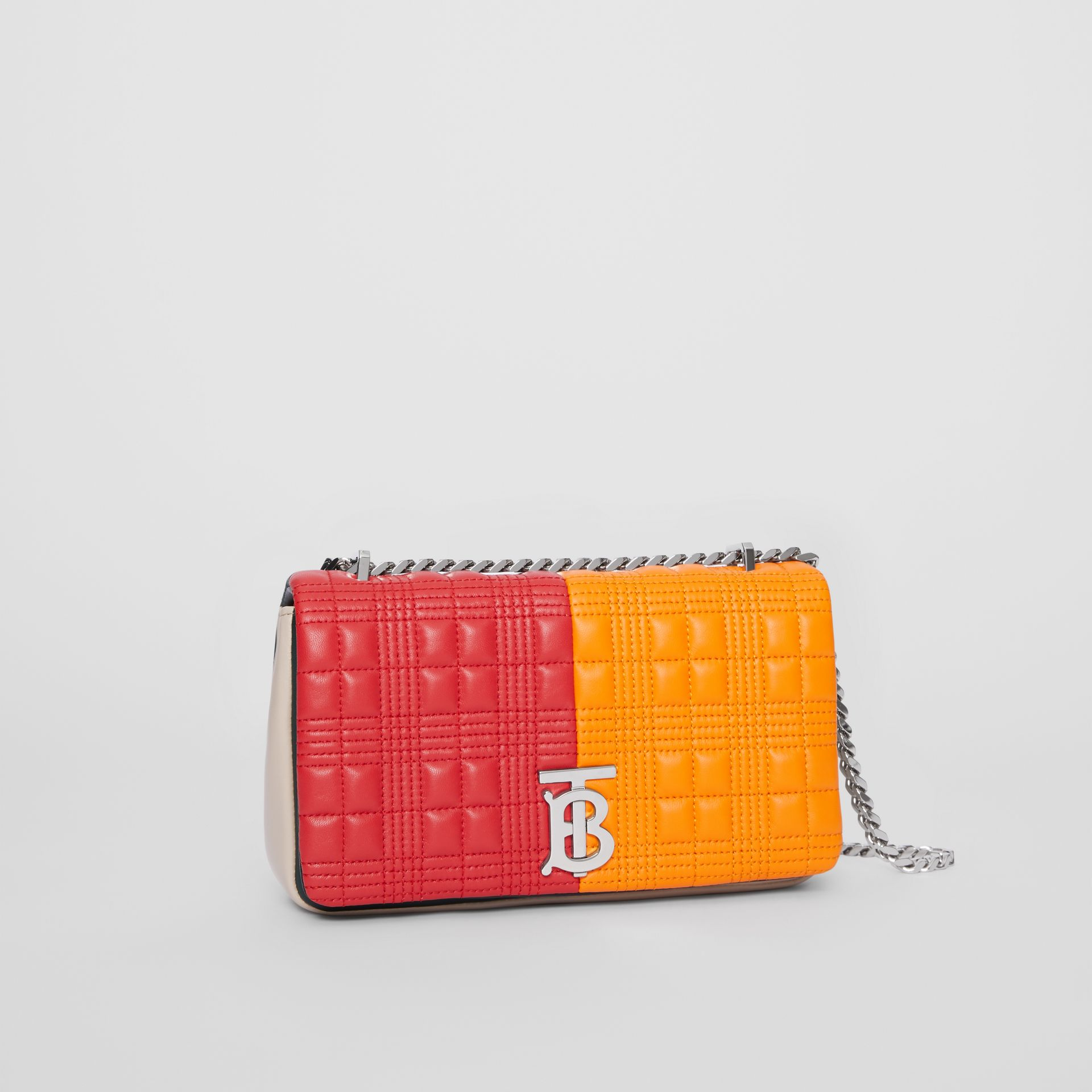 Small Quilted Check Colour Block Lambskin Lola Bag in Bright Red/orange - Women | Burberry - gallery image 5