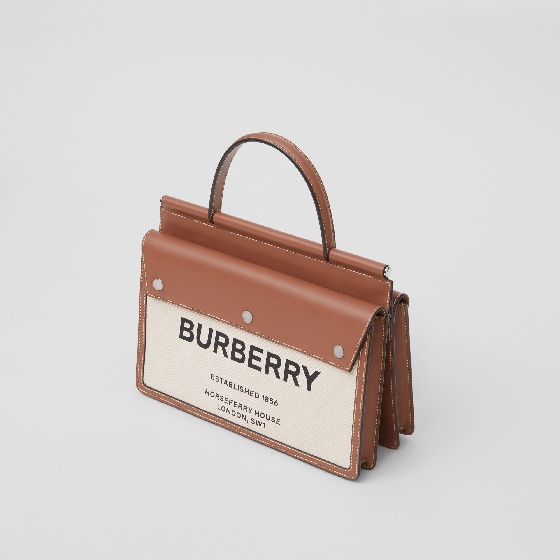 Small Horseferry Print Title Bag with Pocket Detail in Natural/malt Brown - Women | Burberry United Kingdom - gallery image 2