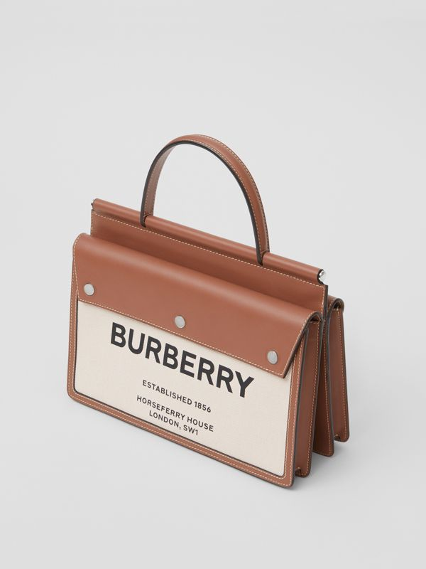 Small Horseferry Print Title Bag with Pocket Detail in Natural/malt Brown - Women | Burberry United Kingdom - cell image 2
