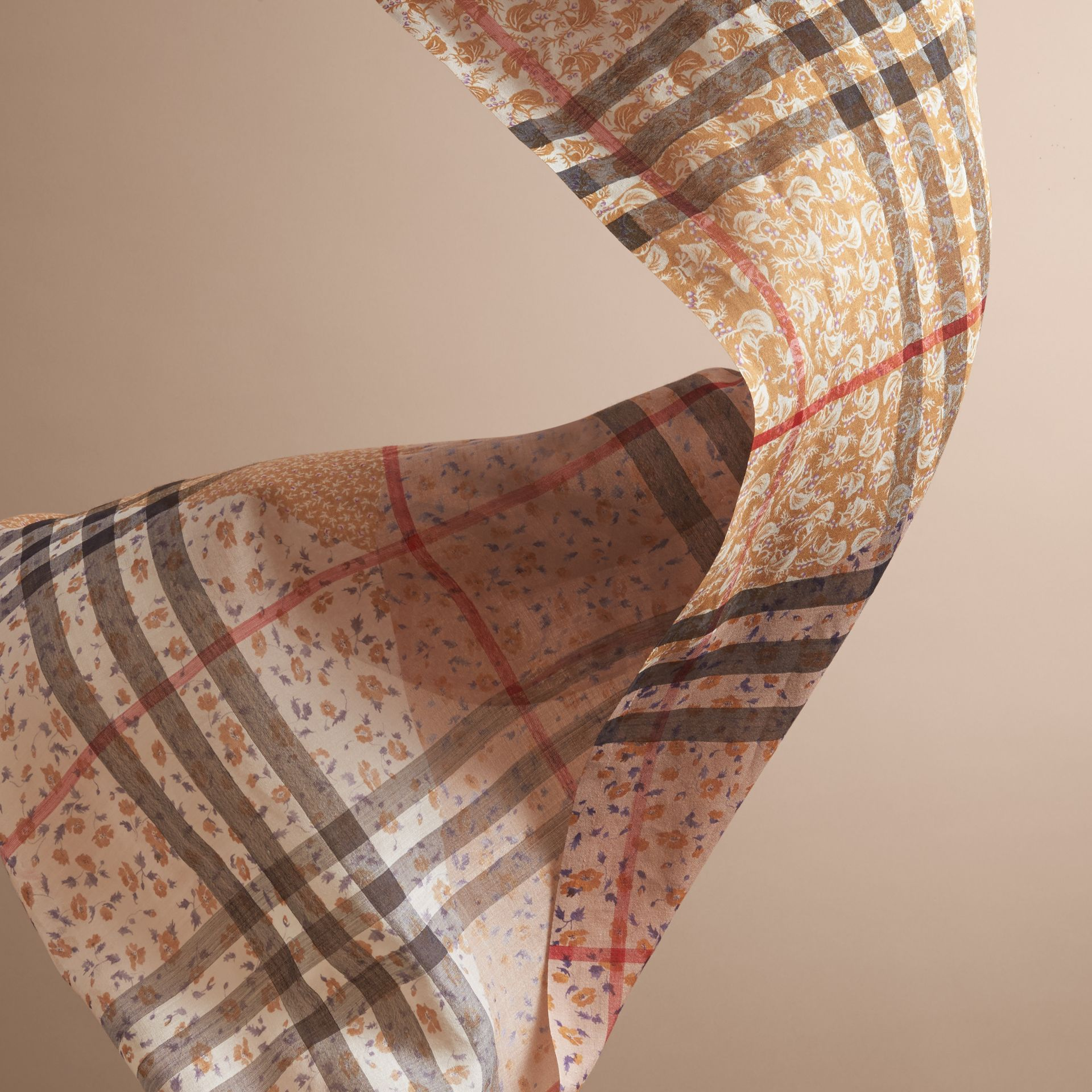 Patchwork Floral Check Wool Silk Scarf in Pale Ochre - gallery image 4
