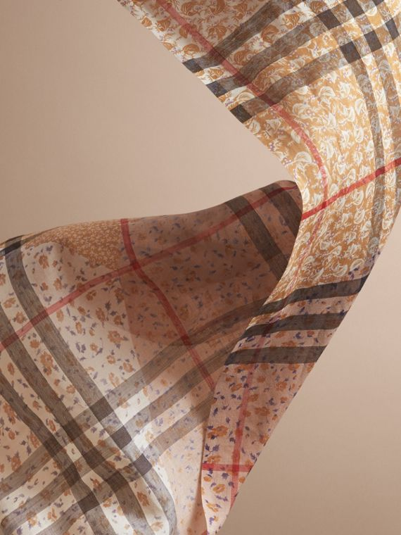 Patchwork Floral Check Wool Silk Scarf in Pale Ochre - cell image 3