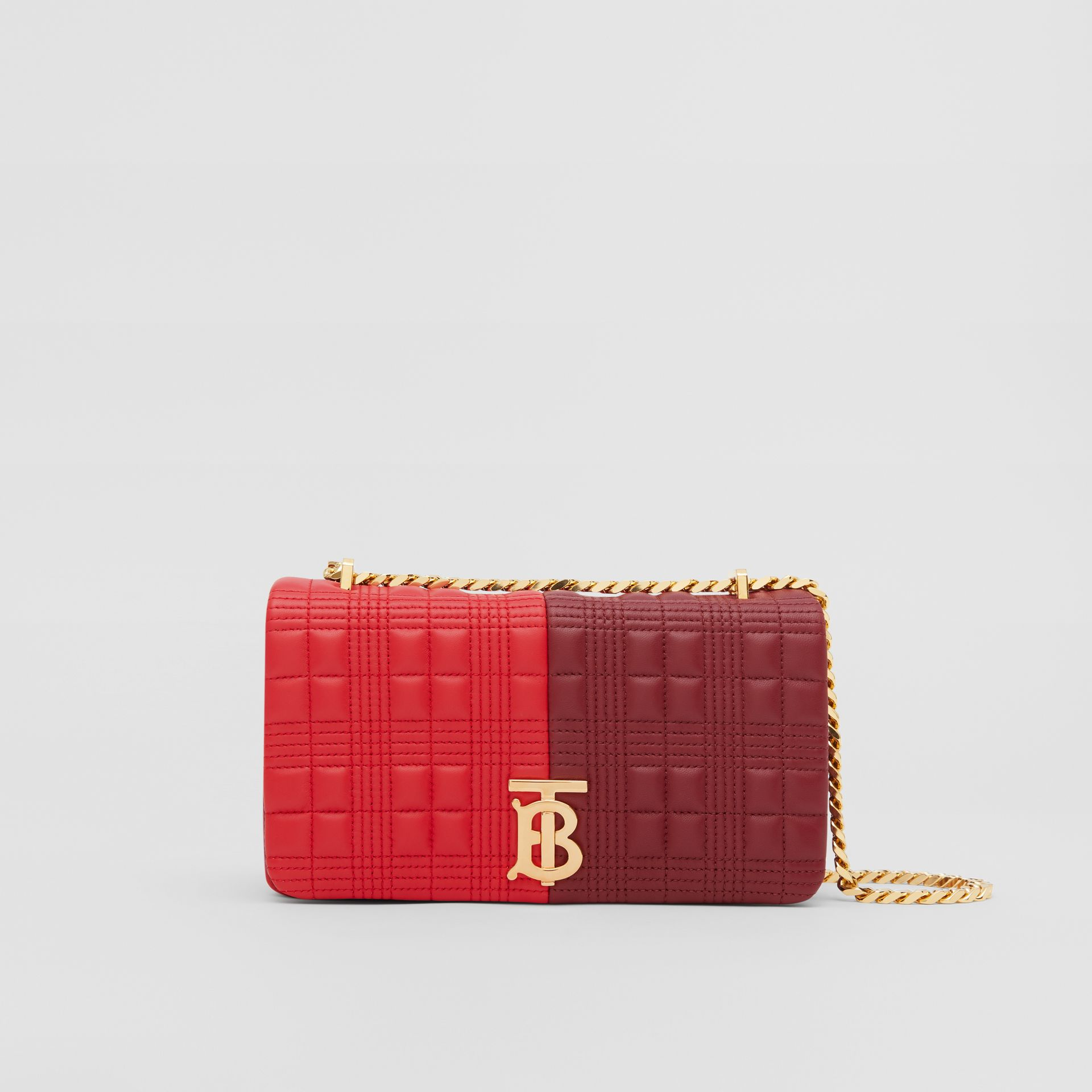 Small Quilted Colour Block Lambskin Lola Bag in Bright Red/burgundy - Women | Burberry - gallery image 0