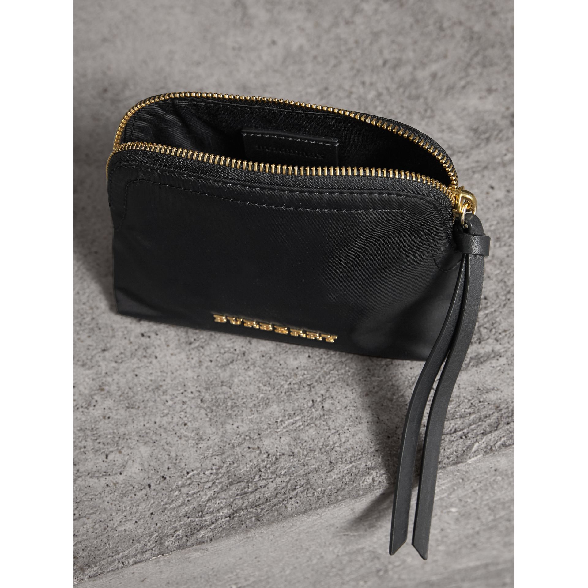 Small Zip-top Technical Nylon Pouch in Black - Women | Burberry - gallery image 3