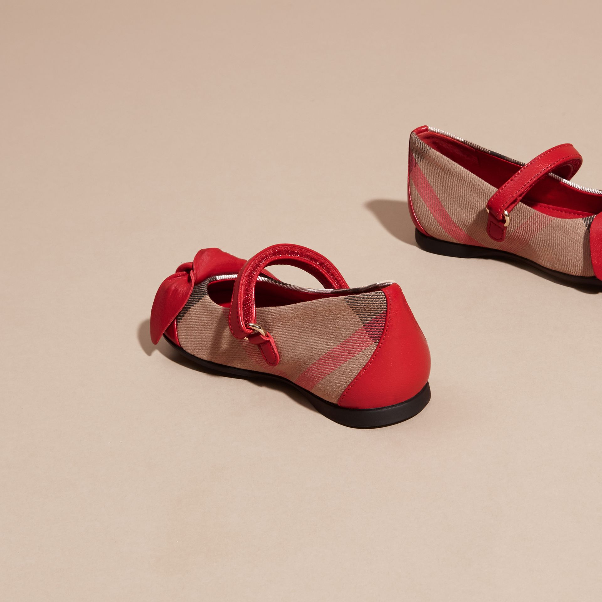 Leather and House Check Ballerinas in Parade Red | Burberry - gallery image 4