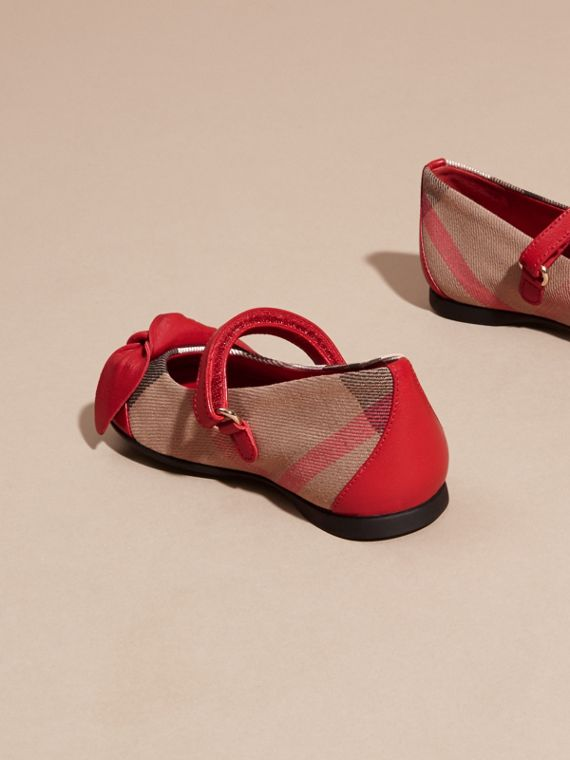 Leather and House Check Ballerinas in Parade Red | Burberry - cell image 3