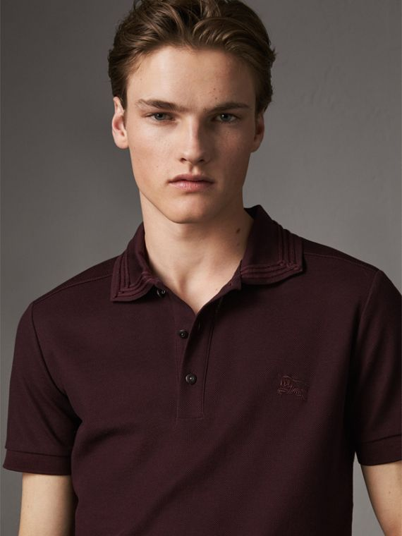Embroidered Detail Cotton Piqué Polo Shirt in Blackcurrant