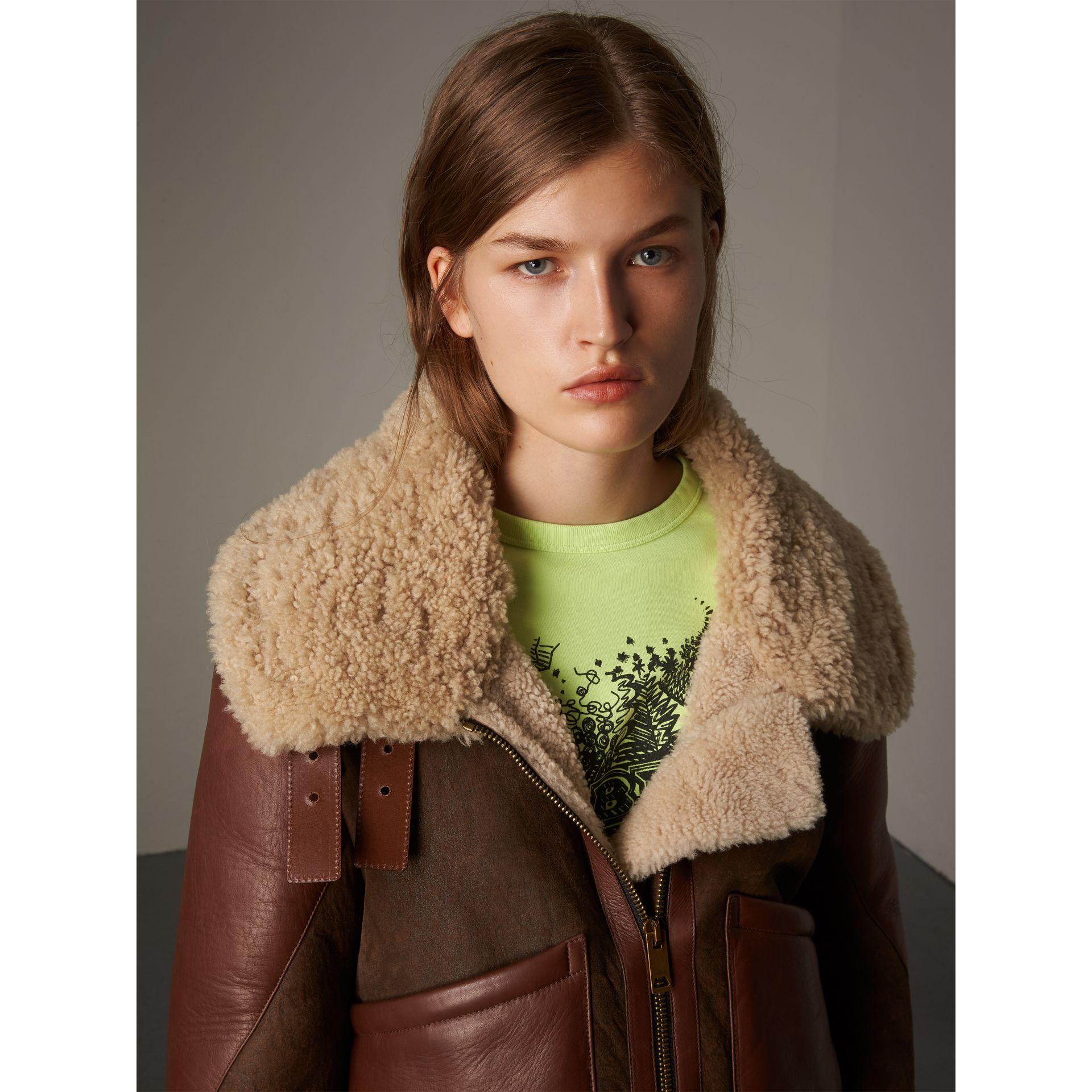 Lambskin Panelled Shearling Aviator Jacket in Dark Chocolate - Women | Burberry - gallery image 1