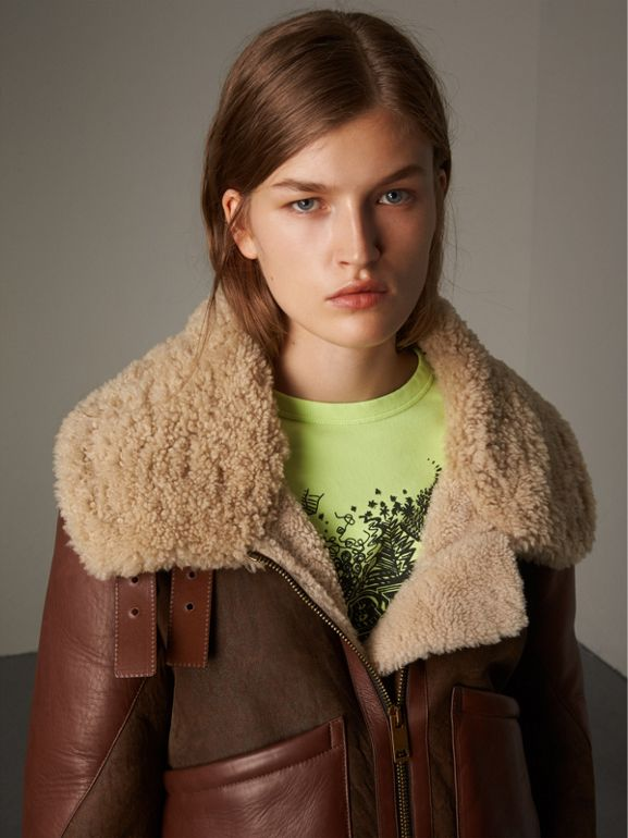 Lambskin Panelled Shearling Aviator Jacket in Dark Chocolate - Women | Burberry - cell image 1