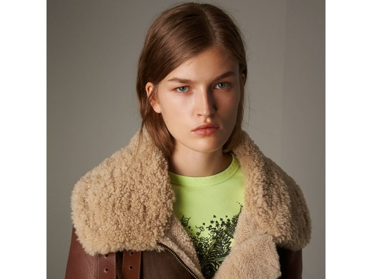 Lambskin Panelled Shearling Aviator Jacket in Dark Chocolate - Women | Burberry United Kingdom - cell image 1