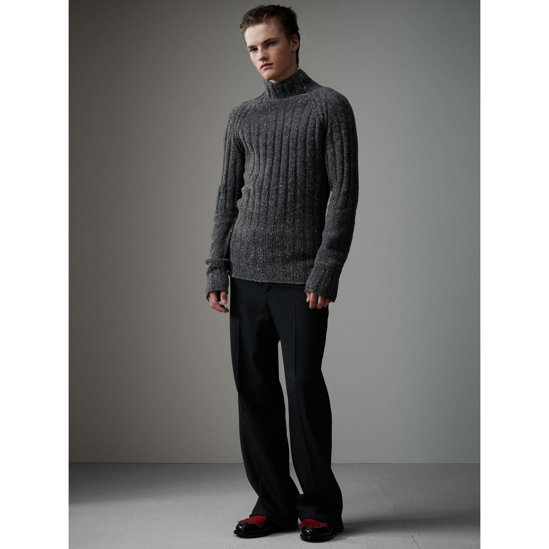 Rib Knit Wool Cashmere Turtleneck Sweater in Charcoal - Men | Burberry - gallery image 1