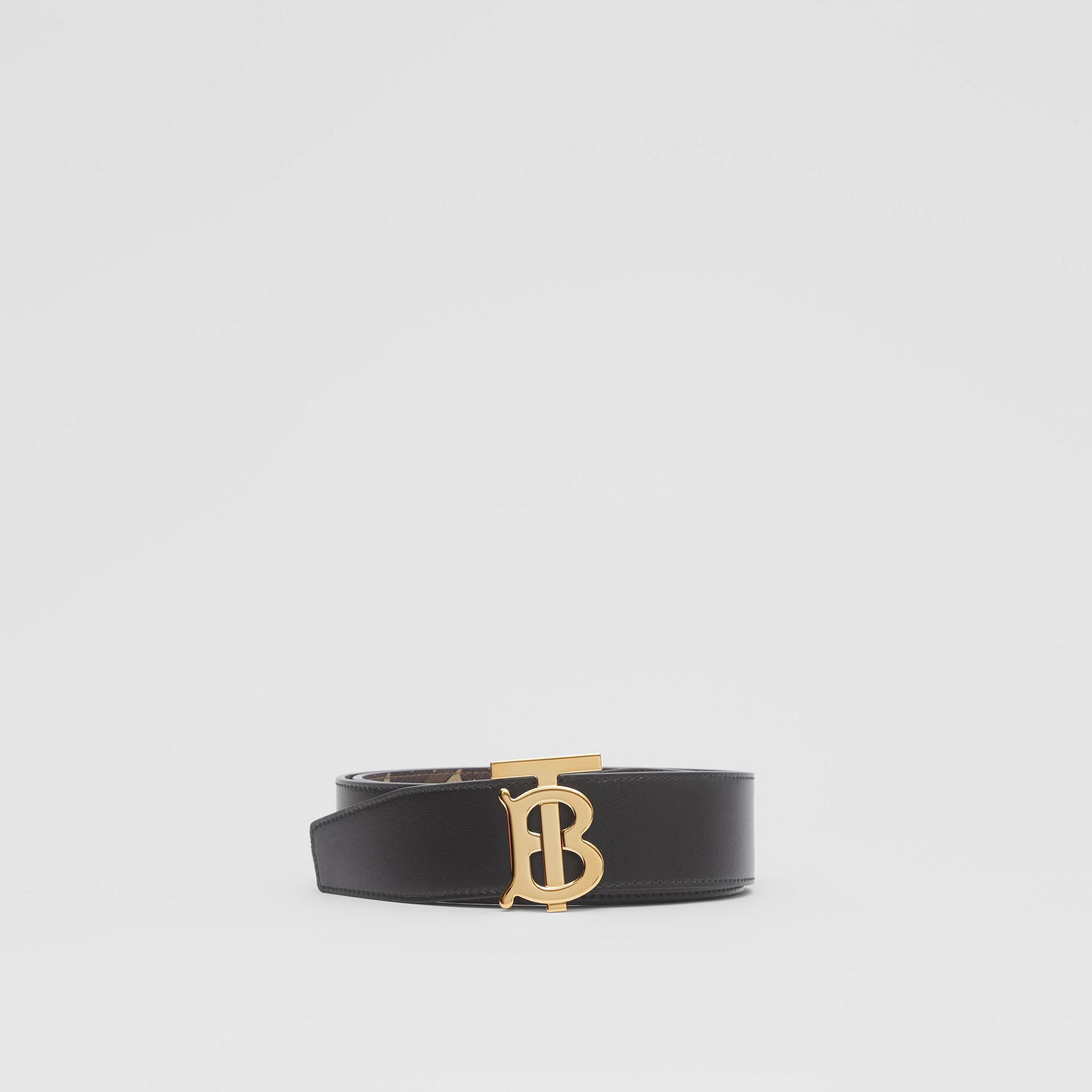 Reversible Monogram E-canvas and Leather Belt in Bridle Brown - Men | Burberry United Kingdom - gallery image 5
