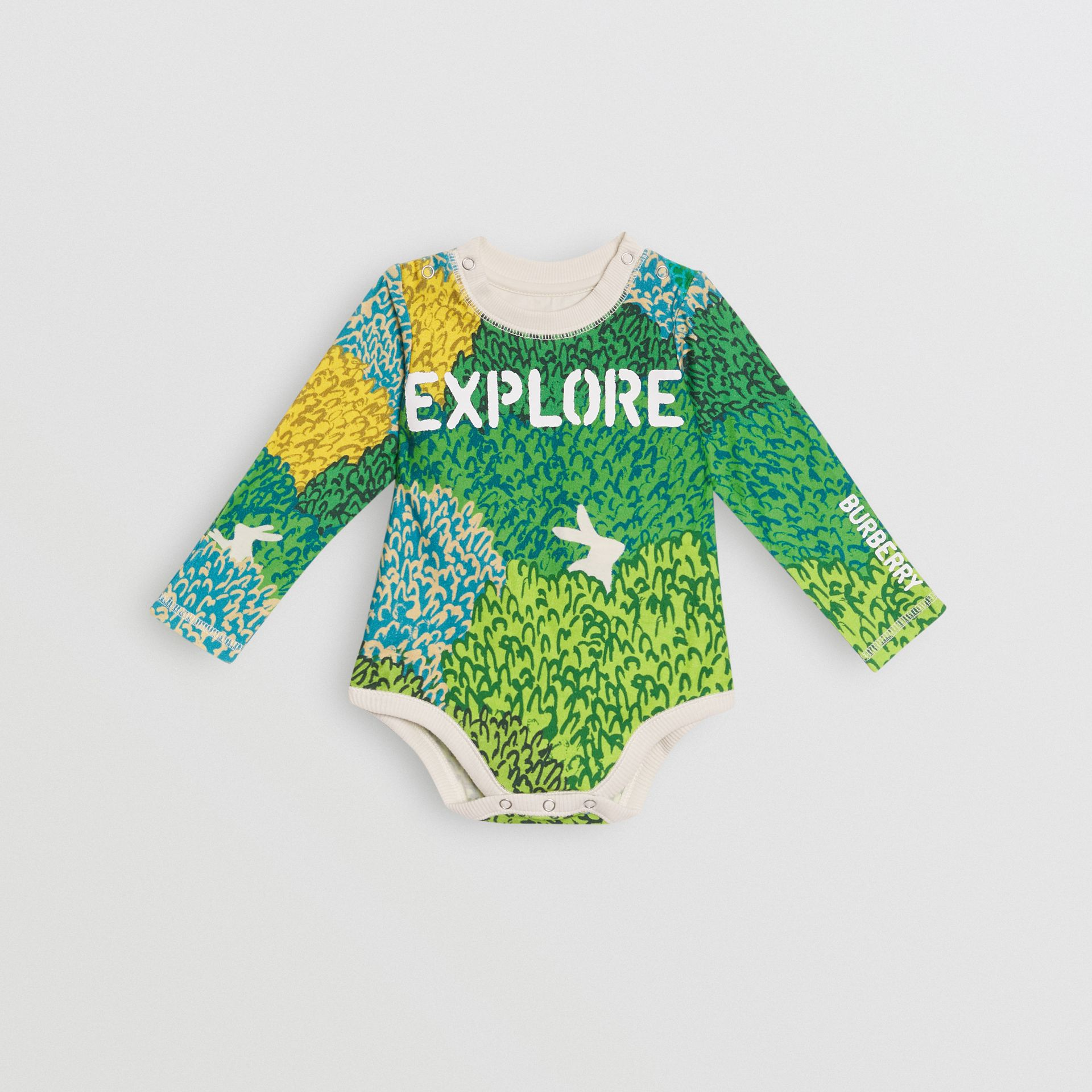 Explore Graphic Print Cotton Bodysuit in Stone - Children | Burberry United Kingdom - gallery image 0