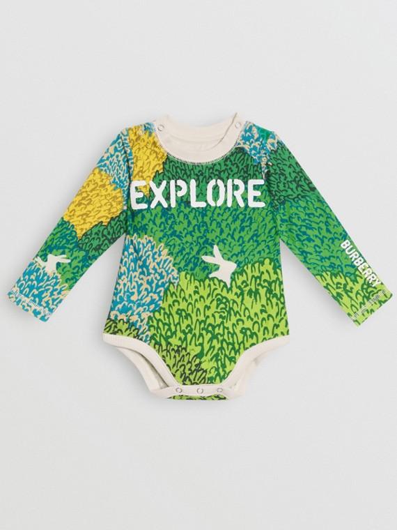 Bodysuit aus Baumwolle mit Explore-Grafikdruck (Steinfarben)