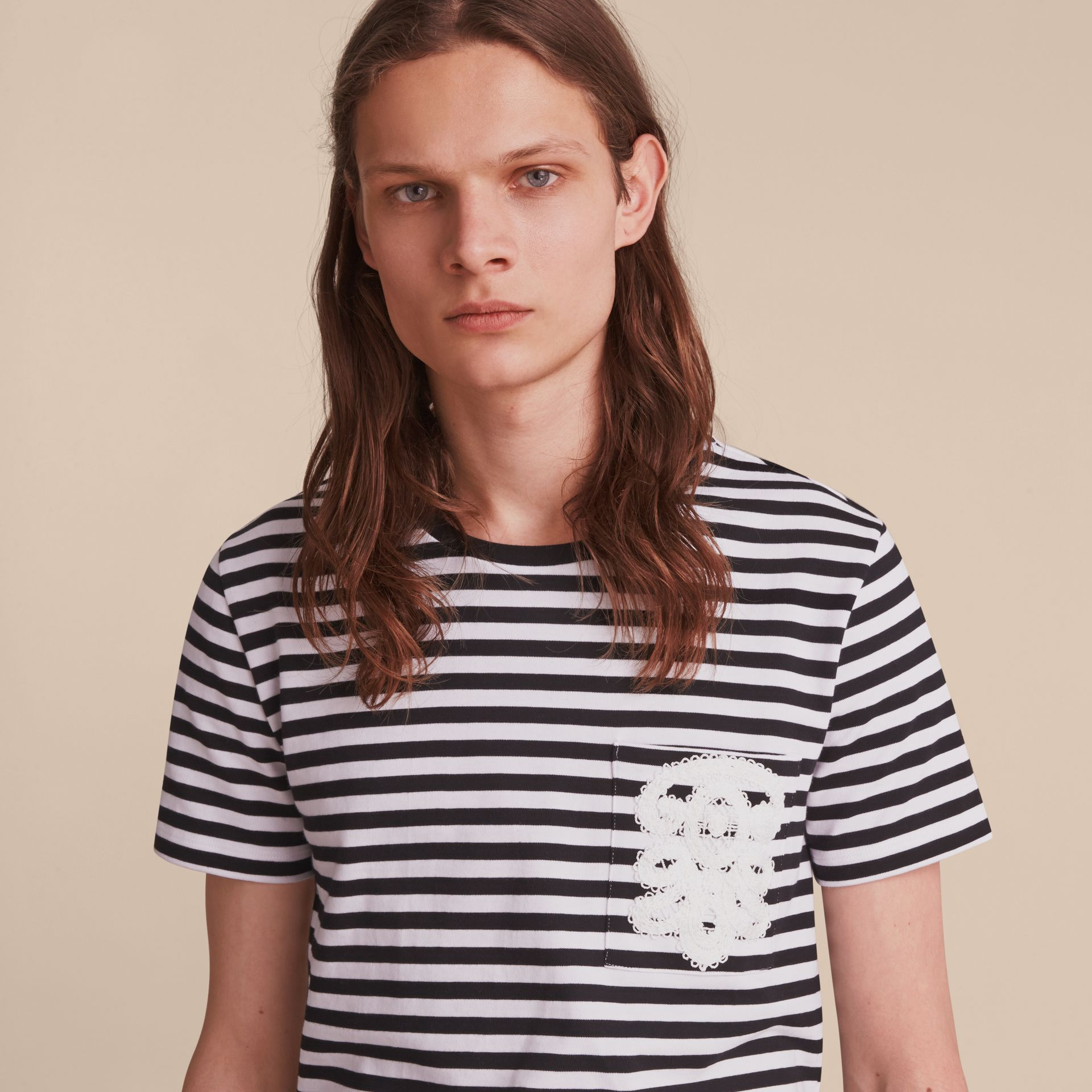 Lace Appliqué Detail Breton Stripe Cotton T-shirt in Black/white - Men | Burberry - gallery image 5
