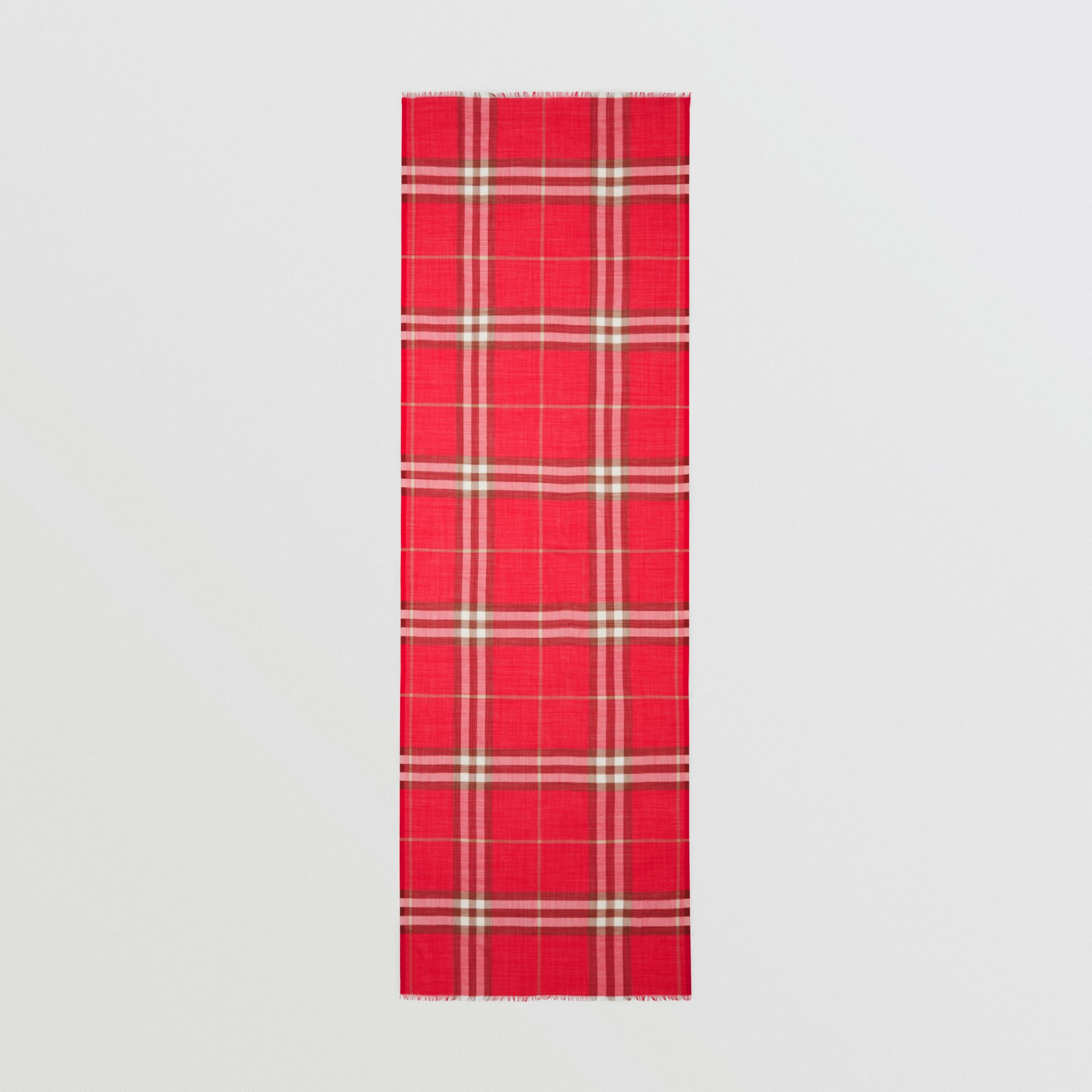 Lightweight Check Wool Silk Scarf in Bright Red | Burberry - gallery image 5