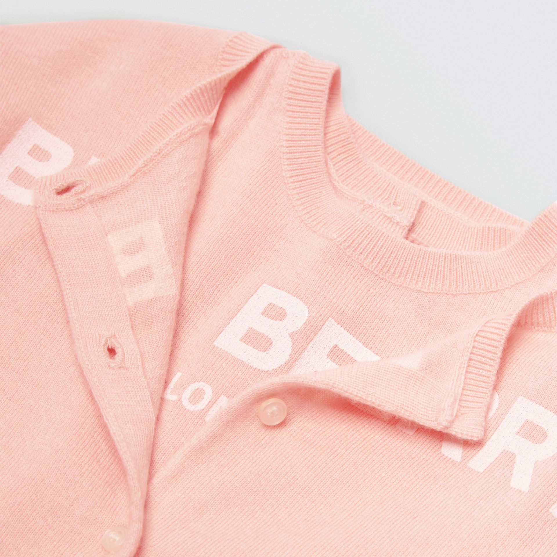 Logo Print Cashmere Two-piece Set in Pale Rose Pink - Children | Burberry - gallery image 1