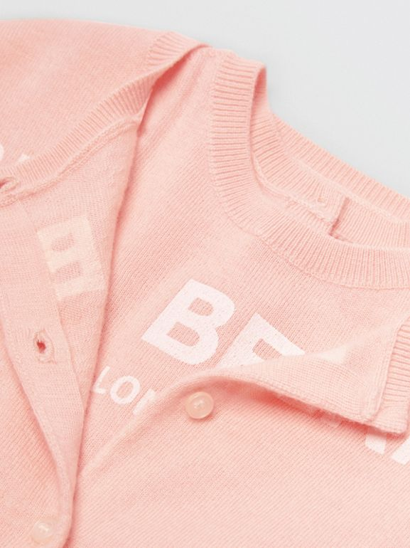 Logo Print Cashmere Two-piece Set in Pale Rose Pink - Children | Burberry - cell image 1